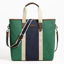 Coach Heritage Web Canvas Pieced Stripe Tote Style F70825 Sv/green/navy Photo