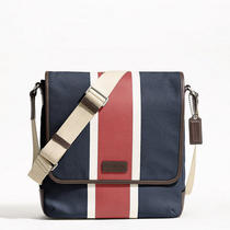Coach Heritage Web Canvas Printed Stripe Map Bag Style F70885 Sv/navy/red Photo