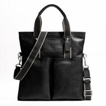 Coach Heritage Web Leather Foldover Tote Style F70558 Sv/black Photo