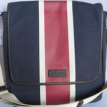 Coach Heritage Wed Canvas Printed Stripe Map Bag - F70885 -Sv / Navy / Red Photo