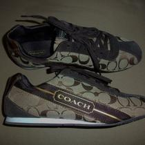 Coach Hilary Signature C Metallic Khaki/bronze Sneaker Shoes Sz 10 M Photo