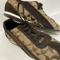 Coach Hilary Sneaker Size 8.5 Brown Signature Jacquard Classic No Wear Photo