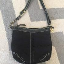 Coach Hobo 6266 Black Cloth Handbag Purse Shoulder Bag Used. Large Photo