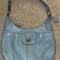 Coach Hobo Shoulder Bag With Blue Pebbled Leather & White Stitching Photo