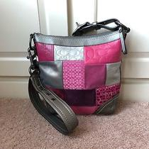 Coach Holiday Patchwork Crossbody Messenger Bag Pink Metallic Leather Suede Euc Photo