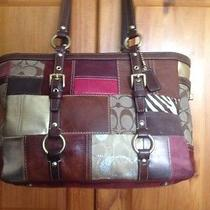Coach Holiday Patchwork Tote Brown Leather 10437 Photo