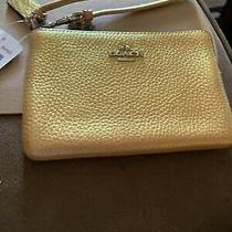 Coach Hologram Corner Zip Wristlet F64938 Gold Photo