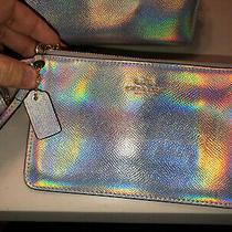Coach Hologram Silver Iridescent Rainbow Wristlet Limited Edition Photo