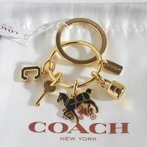 Coach Horse Lock Key Multi Mix Charms Gold Black Key Ring Fob 65167 60 Photo
