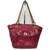 Coach Hot Pink Patent Embossed Large Tote Tan Handles Photo
