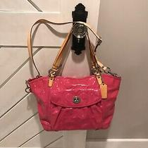 Coach Hot Pink Patent Leather Shoulder Handbag Bag Tote Photo