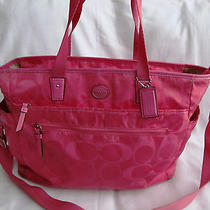 Coach Hot Pink Signature Girl Baby Diaper Shoulder Bag Extra Large Tote Purse Photo