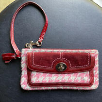Coach Houndstooth Wool Leather Trim Tassel Wristlet Wallet  Photo