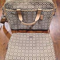 Coach Hudson Signature Beige Commuter/computer Bag and Sleeve Photo