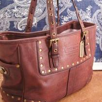 Coach Hue of Burgundy / Purplish Brown Leather Shoulder Purse Bag  Photo