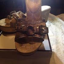 Coach in Box Gold Brocade Wedge Heels Fabric Shoes Photo