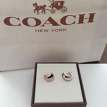 Coach in Box Pave Crystal Huggie Rose Gold Earrings F99561   Photo
