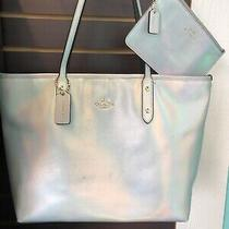 Coach Iridescent Hologram Leather City Zip Tote Purse and Wristlet Photo