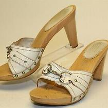 Coach Italy Made Joslyn Womens 10 B White Leather Slides Sandals Heels Shoes Photo