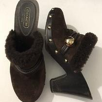 Coach Ivanka Brown Studded Wooden Clog Heel Mules Shoes Fur Size 6.5 M Photo