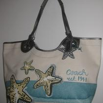Coach Ivory Canvas Blue Beach Starfish Motif Tote Bag Nwt 19212 298 Photo
