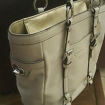 Coach Ivory Gold-Trim Leather Handbag Tote Photo