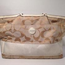 Coach Ivory Khaki Signature Diaper Bag Computer Weekender Travel Laptop 17443 Photo
