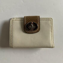 Coach Ivory White Leather Turnlock Tan Python Wallet Bifold Bag Purse Clutch Photo