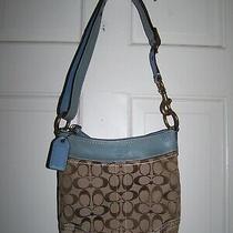 Coach J0682-10402 Blue/khaki Jacquard & Leather Shoulder or Crossbody Bag Photo