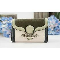 Coach Jade Chalk Navy Pale Green Medium Flap Wallet 2988 Nwt  Photo