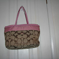 Coach Jaquard Signature C Pink Tote Handbag 11691 Photo
