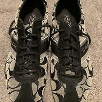 Coach Jayme Black Gray Metallic Trim Athletic Sneaker Shoes Q582 Size 7.5 Med Photo