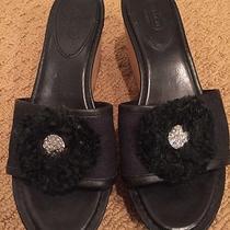 Coach Jazmin Cork Wedge Platform Sandal/slide Black Leather/canvas Sz 9.5- Euc  Photo