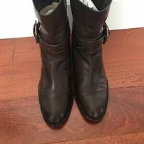 Coach Jesika Brown Leather Moto Boots 9b / Buckle / Strap Photo