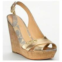 Coach Jessy Classic Leather Canvas Logo Wedge Sandals 6 Photo