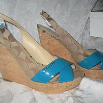 Coach Jessy Wedge Slingback Sandal Beige Signature C With Teal Trim Size 11 New Photo