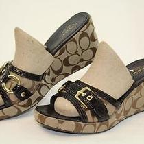 Coach Jewel New Mismatch Womens 8 / 9 Brown Slides Platforms Sandals Shoes Ajm Photo