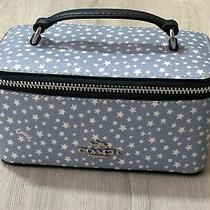 Coach Jewelry Box Travel Case Coated Canvas Disty Star Print Blue White  Photo