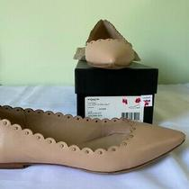 Coach Jill Soft Shine Calf Beechwood  Leather Studded Scalloped Ballet Flats 8m Photo