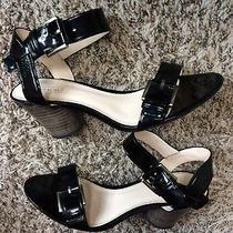 Coach Jodee Sz 8.5 B Black Patent Leather Ankle Strap Sandals Photo