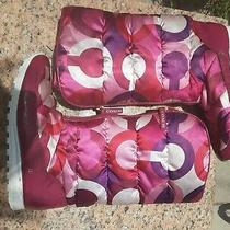 Coach Jolt Pink Berry Tall Quilted Snow Boots Photo