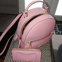 Coach Jordyn Crossgrain  Leather Backpack Medium - Rose W/matching Wallet Photo