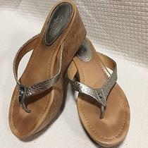 Coach Jorgina Silver Patent Leather Thong Sandal Flip Flop Cork Wedges Size 9 B Photo