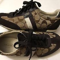 Coach Joss Size Signature Brown Jacquard Casual Sneakers Size 8.5 Brown Khaki Photo