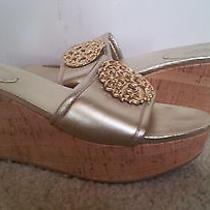 Coach  Judith Wedges Cork Mettalic Gold Leather Sandal  Gold Logo Size 7.5 B Photo
