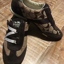 Coach Juli Fashion Sneakers Brown Jacquard Suede Shoes  Size 7.5m Photo