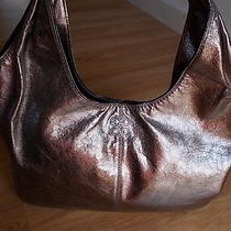 Coach Julia Gunmetal Leather Shoulder Hobo Handbag Rare Photo