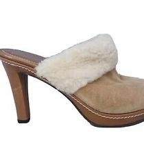 Coach Kacie Suede Tan Slip on Heels Clog Mules Size 8.5 B Made in Italy Photo