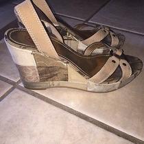Coach Kallista Patchwork Wedge Shoes Sandals Brown Beige Sz 7.5 Women's Photo
