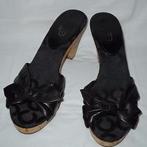 Coach Karen Brown Leather & Op Art Open-Toe Sandals With Cork Heels 8 B Photo
